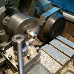 Turning the new fly arbour bush on the lathe