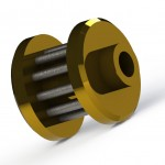 Solidworks render of the fly arbour lantern pinion