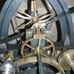 Close up of the double three-legged gravity escapement
